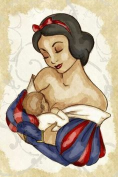 Snow white ♥ breastfeeding, I love everything about a Disney character doing this! Illustration Art Dessin, Illustrations, Betty Boop, Breastfeeding Tattoo, Breastfeeding Images, Disney Kunst, Disney Addict, Baby Art, Mother And Baby