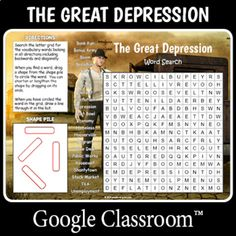 Distance Learning Great Depression Word Search Distance Learning Great Depression Word Search by Puzzles to Print Disney Word Search, Easy Word Search, Letter L Words, Challenging Puzzles, History For Kids, Great Depression, Fun Activities For Kids, Google Classroom, Your Teacher