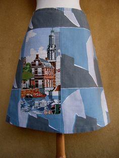 Munttoren borduurwerk rok vintage stof rok A-lijn rok door LUREaLURE