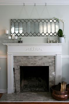"Love this idea!  An old leaded glass window repurposed using krylon ""looking glass"" spray paint.  See http://www.ecabonline.com/2010/11/diy-mirror-from-leaded-glass-window.html for the tutorial."