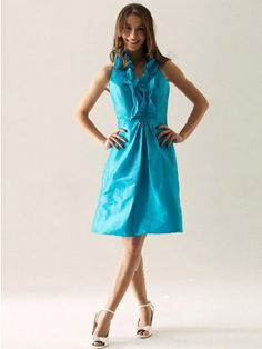 A-line Halter Taffeta Knee-length Sleeveless Ruffles Occassion Dresses at simplydresses.co.nz