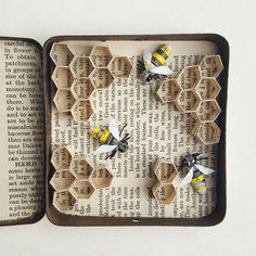 Abeilles dans une ruche de Tin sculpture de papier par Kasasagi