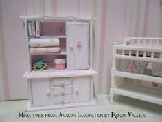 Shabby Doll House | Miniature dollhouse shabby chic pink with rose print hutch 1:12 scale