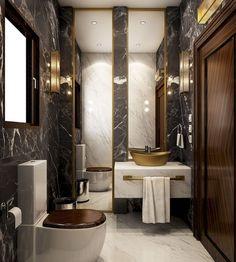 Luxury bathroom design with Art Deco style Dream Bathrooms, Beautiful Bathrooms, Small Bathroom, Bathroom Ideas, Bathroom Designs, Glamorous Bathroom, Master Bathroom, Bathroom Grey, Bathroom Photos