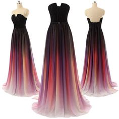 Gradient Maxi Chiffon Long Formal Prom Dress, Cocktail Dress, Ball Gown