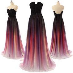 Gradient Maxi Chiffon Long Formal Prom Dress, Cocktail Dress, Ball Gown