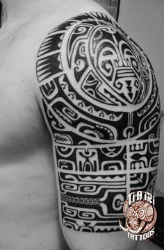 Polynesian Shoulder & Chest Tattoos - Po'oino Yrondi Po'oino Yrondi