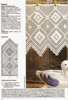 Diana Bistro Gardinen D 1302 - Zosia - Picasa Web Albums Filet Crochet, Crochet Borders, Crochet Chart, Thread Crochet, Crochet Trim, Crochet Lace, Crochet Patterns, Crochet Curtain Pattern, Crochet Curtains