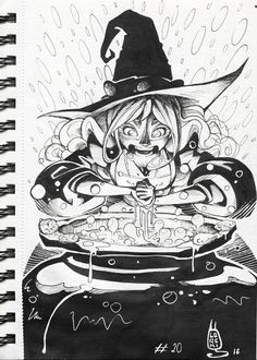 Inktober drawings 2016 on Behance. Magic Doodle, Doodle Art, Inktober, My Drawings, Art Reference, Book Art, Witch, Arts And Crafts, Doodles
