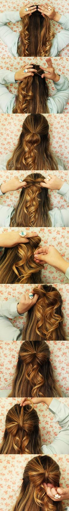 Half-up hairstyle with an easy hair bow