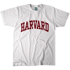 Harvard T-Shirt Classic (White) ($20) ❤ liked on Polyvore featuring tops, t-shirts, cotton tees, white cotton t shirts, white cotton tops, cotton t shirts and white top