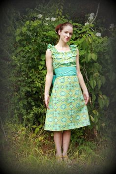 Amy Butler Dress  teal belted ruffle dress by SweetHomeBoutique, $96.51