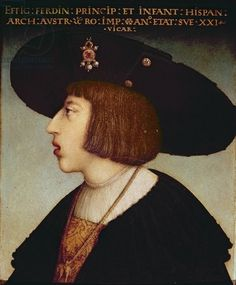 Portrait of Ferdinand I, Holy Roman Emperor (1503-1564) Age 21.  (oil on panel)