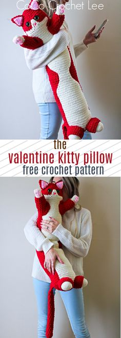 Crochet Toys Patterns The Valentine Kitty Pillow is a new Free crochet pattern from CoCo Crochet Lee! Enjoy making your kitty with Bernat Blanket yarn! Chat Crochet, Crochet Cat Toys, Crochet Pillow Pattern, Crochet Gratis, Crochet For Kids, Crochet Baby, Crochet Patterns, Crochet Ideas, Crochet Animals