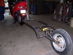 Click this image to show the full-size version. Dog Trailer, Off Road Trailer, Small Trailer, Trailer Build, Trailer Hitch, Pull Behind Motorcycle Trailer, Bicycle Engine, Powered Bicycle, Expedition Trailer