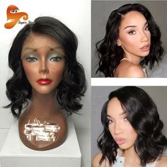 8A Short Full Lace Human Hair Wigs For Black Women Brazilian Virgin Hair Short Full Lace Wigs Wet Wavy Side Part Lace Front Wig