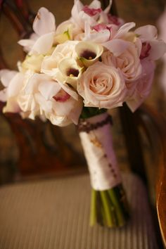 White bouquet with touches of purple  Photo Credit:  Jamie K Photography | NJ Wedding Planner