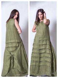 New Sewing Women Tunic Fabrics Ideas Denim Maxi Dress, Linen Tunic Dress, Linen Dresses, Abaya Fashion, Boho Fashion, Fashion Dresses, Sewing Dresses For Women, Clothes For Women, Dress Sewing