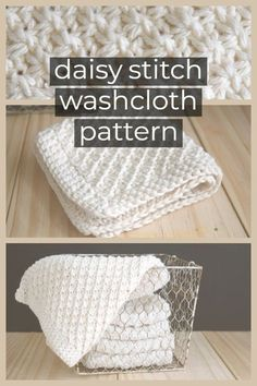 This Daisy Stitch Knit Washcloth Pattern with crochet edge knits up quickly. Directions how to do the daisy stitch, plus links to more washcloth & dishcloth knitting patterns Strickmuster Daisy Stitch Knit Washcloth Pattern Knitted Washcloth Patterns, Knitted Washcloths, Dishcloth Knitting Patterns, Crochet Dishcloths, Crochet Patterns, Knitting And Crocheting, Charity Knitting, Crochet Edgings, Loom Patterns
