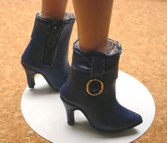 Doll Shoes, Custom 50mm NAVY zip ankle boots for Ellowyne