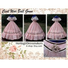 MADE TO ORDER--Civil War Reenacting Military Ball Gown Southern Belle... ($535) ❤ liked on Polyvore featuring dresses, gowns, reenacting, rose, ruffle dress, 2 piece dress, ruffle collar dress, pleated dress and front lace corset