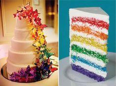 Rainbow wedding cake... Mmm