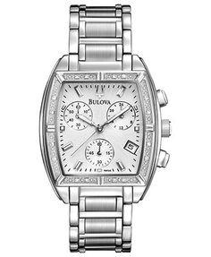 Bulova Watch, Women's Chronograph Diamond Accent Stainless Steel Bracelet 31mm 96R163