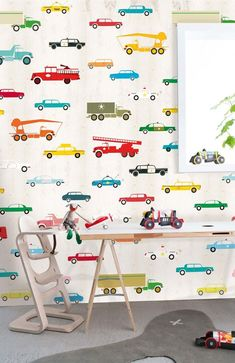 Onszelf Kids Wallpaper Panels- Cars & Trucks by Onszelf Boys Room Wallpaper, Wallpaper Panels, Cool Kids Rooms, Kids Prints, Art Wall Kids, Kids Decor, Boy Room, Kids Bedroom, Decoration