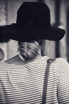 low bun + sun hat