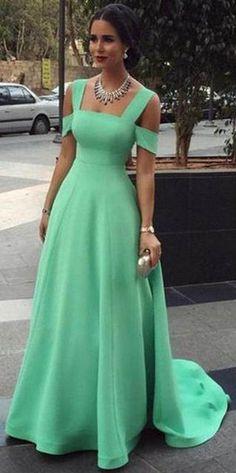 Long Off-the-Shoulder A-line Satin Prom Dresses