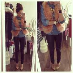 .Fur vest and chambray button-up!!!