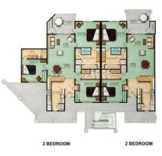 Image result for multi unit 2 bedroom condo plans