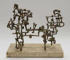 """Alioth/Phobus"", 1958, Ibram Lassaw, American (1913-2003), bronze, silicone bronze, nickel silver, copper, steel and silver over galvanized wire, 7 1/2 x 9 1/2 in. Gift of Cordelia Penn Cannon, 1981. 1981.2857"