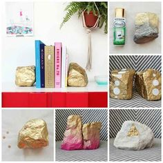Glitter Rocks | 23 Lovely DIY Bookends To Adorn Your Shelves