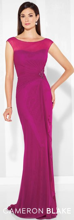 Formal Evening Gowns by Mon Cheri - Spring 2017 - Style No. 117601 - fuchsia evening dress with illusion bateau neckline and cap sleeves