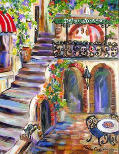 Annyira nyomorult, hogy még a feliratot sem bírja egyenesen felírni az árnyékolástechnikára... nemhogy egy lépcsőt rajzolni, vagy két ajtót. Vagy széket. Mégis jó :) Színekkel felhozza a ribi (Elaine Cory - Street in Italy) (eleve ez nem is egy utca, hanem belső udvar szerintem, de ezt legalább nem ronthatta el, hogy mi a címe, mert azt ő találja ki)