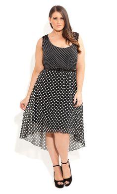 City Chic - SPOTTY LACE DRESS - Women's plus size fashion