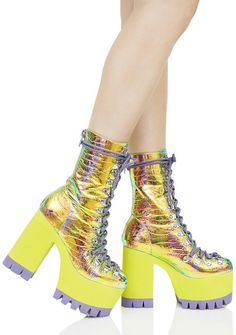 Current Mood Cosmic Matter Iridescent Platform Boots we can't deal with anything that suxXx, so we STOMP it OUT~! These ultra cool platform boots featurin' a crazee iridescent rainbow croc print construction, mid-calf height, chunky slime green platform heel 'N sole, contrasting purple tread, hardcore D-ring lace-ups that go all tha way to the toe, and a supa convenient back zip closure.
