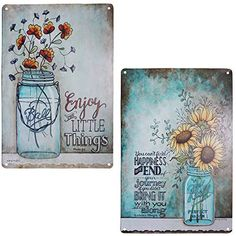 TISOSO Two Glass Bottle Floral Sunflowers Poppies Metal Tin Sign Wall Art Decor for Living Room Vintage Art Coffee Bar Signs Home Decor Gifts Decoration Outdoor Metal Wall Art, Large Metal Wall Art, Metal Wall Art Decor, Wall Decor Set, Home Wall Art, Classic Artwork, Floral Wall, Wall Signs, Tin Signs