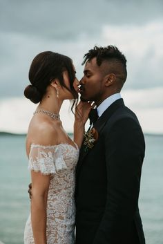 Victoria's Secret model Shanina Shaik wed long-term fiancée DJ Ruckus in a romantic beachside wedding in the Bahamas on Saturday. And Brides provide a peek into their private wedding album. Romantic Wedding Hair, Beach Wedding Hair, Wedding Dj, Wedding Trends, Wedding Tips, Budget Wedding, Perfect Wedding, Wedding Ceremony, Wedding Planning