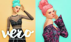 "holosprite: "" ""Vero Bun - a stylish updo with a bow! Available in all 18 EA colours as well as my Total Control v2 palette (36 colours + white). Download it at holosprite.net. "" "" YESSSSSS"