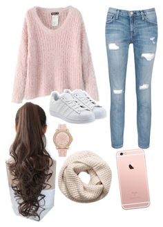 """""""Rosy Pink Cutie """" by pretzell on Polyvore featuring H&M, Juicy Couture, Chicnova Fashion, Current/Elliott, adidas Originals, Pin Show, Pink, rosegold and sweaterweather"""