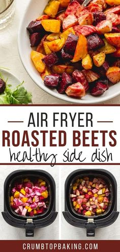 Air Fryer Beets roast up sweet and tender with just oil, salt and pepper, and make an easy roasted beets side dish or salad topping! You'll want to add this simple and delicious recipe to your dinner rotation!
