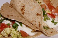 Colleen's Kitchen: Chicken Soft Tacos with a Creamy Salsa Verde Sauce and Avocado Fruit Salad