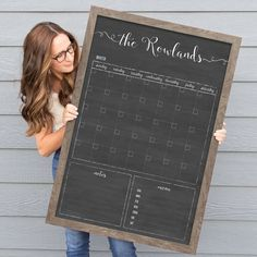 The lightweight chalkboard style dry erase calendar is fully customized to your specifications! Wall calendars, menu planning, chore charts and more by circleandsquaredecor! Chalkboard Calendar, Custom Calendar, Framed Chalkboard, Family Calendar, 2021 Calendar, Dry Erase Wall Calendar, Calendar Wall, Wall Calendars, Advent Calendar