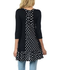Look what I found on #zulily! Black Polka Dot Contrast Tunic #zulilyfinds
