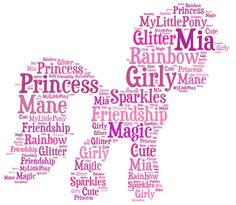 Personalised My Little Pony Word Art for 8x10in frame. Gift, Bedroom, Birthday x
