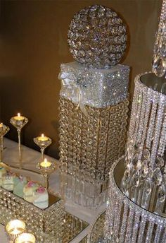 Great wedding decorations for your crystal wedding theme. Bling Wedding, Crystal Wedding, Diy Wedding, Dream Wedding, Wedding Day, Bling Centerpiece, Diy Centerpieces, Chandelier Centerpiece, Feather Centerpieces