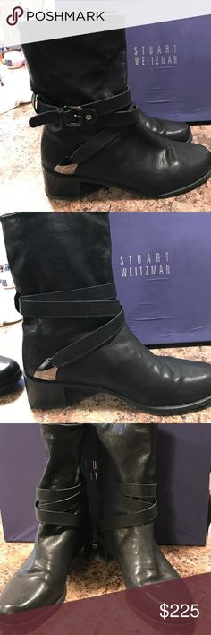 """Stuart Weitzman Moto Boots Black leather moto boots with straps, buckles and silver details. They are Weitzmans """"Ranch Dressing"""" boot! Super cute and Weitzman comfy! Great condition, gently used! Stuart Weitzman Shoes Combat & Moto Boots"""