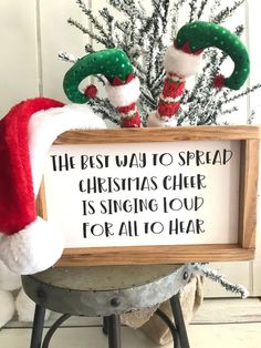 "$25 · This is such a fun Christmas sign! You can hang a Santa hat off of it or put some cute little elf feet next to it as shown Or just put the sign by your tree In your tree Whatever you think looks cute! It's about 7""x11"" All paint & wood #christmasdiy"